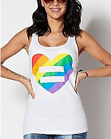 Rainbow Heart Equality Tank Top
