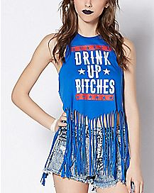 Fringed Drink Up Bitches Tank Top