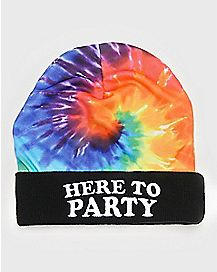 Tie Dye Here To Party Beanie Hat