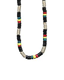 Rope Tube and Rasta Beads Necklace