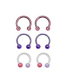Multi-Pack Pink Gem Horseshoe Rings 3 Pair - 14 Gauge