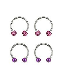 Pink and Purple Horseshoe Rings 2 Pair - 16 Gauge