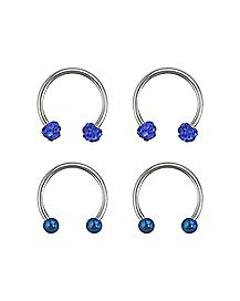 Blue Horseshoe Rings 2 Pair - 16 Gauge