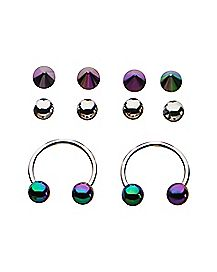 Rainbow Horseshoe Rings with Extra Balls  1 Pair - 18 Gauge