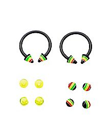 Rasta Horseshoe Rings - 16 Gauge