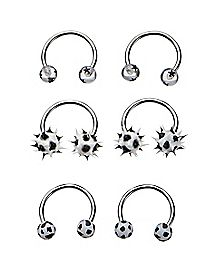 Multi-Pack Black and White Horseshoe Rings 3 Pair - 18 Gauge