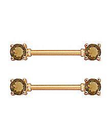 Rose Goldplated Barbell Nipple Rings - 14 Gauge