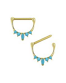 Goldplated Turquoise-Effect Nipple Shields 1 Pair - 14 Gauge