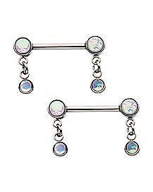 Opal-Effect Dangle Nipple Barbells 1 Pair - 14 Gauge
