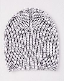 Gray Ribbed Slouchy Beanie Hat