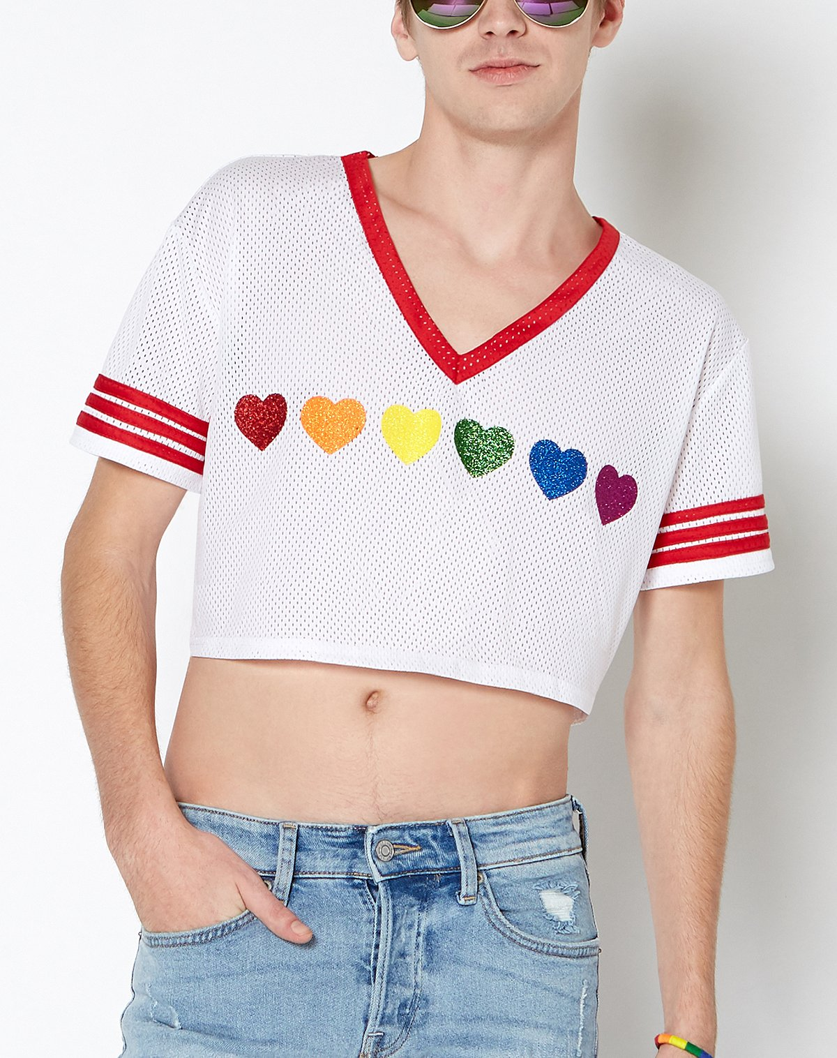 Cropped Mesh Rainbow Heart jersey