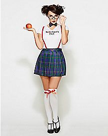 Adult I Love Nerds School Girl Costume