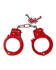 Pleasure Bound Designer Metal Love Handcuffs Red