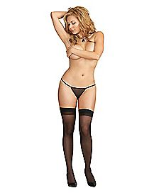 Plus Size Solid Top Sheer Thigh High Stockings