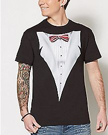 White Tuxedo on Black T shirt