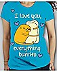 Adventure Time 'I Love You Everything Burrito' Junior Fitted Tee