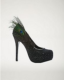 Black Peacock Feather Heels