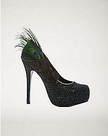 Black Peacock Feather Heels