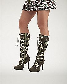 Womens Green Camo Laceup Boots