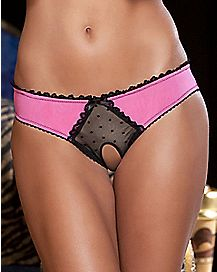 Frills Back Bow Crotchless Panties