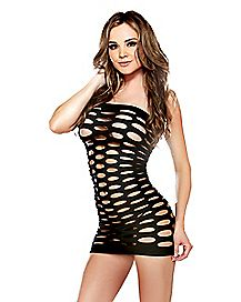 Pothole Tube Dress - Black