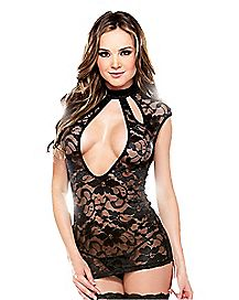 Lace Open Front Dress and G-String Panties Set