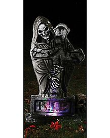 2 ft Light Up Reaper Cross Tombstone - Decorations