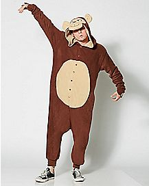 Adult Hooded Monkey One-Piece Pajamas