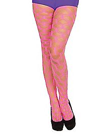 Wide Fishnet Tights - Neon Pink