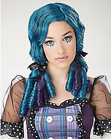 Curly Broken Doll Blue Wig