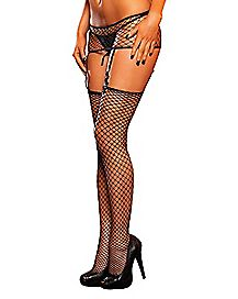 Industrial Net Thigh Highs and Garter Set - Hustler