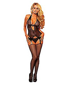 Strap It Down Bodystocking Set - Hustler