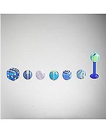 14G Blue Dice Bioflex Labret Lip Ring with 6 Balls