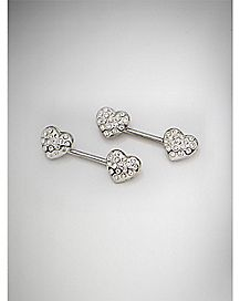 Cz Heart Barbell Nipple Ring- 14 Gauge