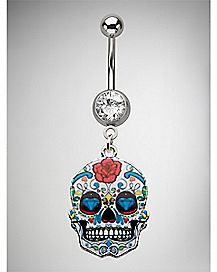 Sugar Skull Dangle Belly Ring - 14 Gauge
