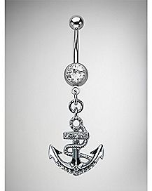 Anchor Curved Dangle Belly Ring - 14 Gauge