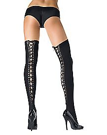 Lace Up Thigh High Stockings