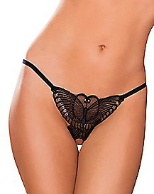 Lace Butterfly Crotchless Thong Panties
