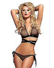 Fishnet Criss Cross Bra and Panties Set