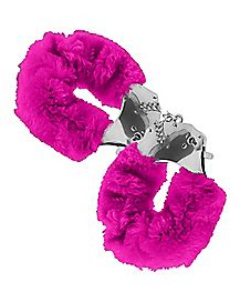 Neon Pink Faux Fur Handcuffs