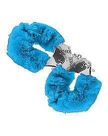 Neon Blue Faux Fur Handcuffs