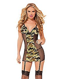 Commander Camo Chemise and Thong Set