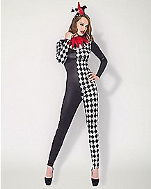Adult Harlequin Jester Catsuit Costume