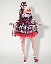Adult Day of the Dead Plus Size Dress Costume