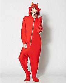 Adult Hooded Devil Pajama Costume