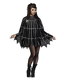 Adult  Plus Size Spiderweb Poncho Costume