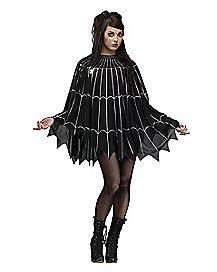 Adult  Plus Size Spiderweb Poncho Costume