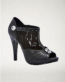 Black Fringe T-Strap Heels