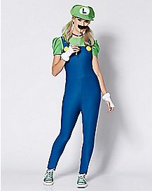 Adult Luigi One Piece Costume - Mario Bros