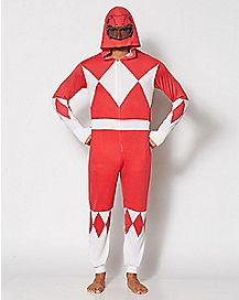 Red Power Ranger Adult Hooded One-Piece Pajamas